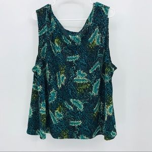 Maggie Barnes Black Teal Floral Tank Top Blouse